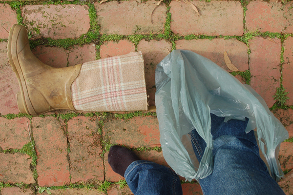 Plastic bag and boot